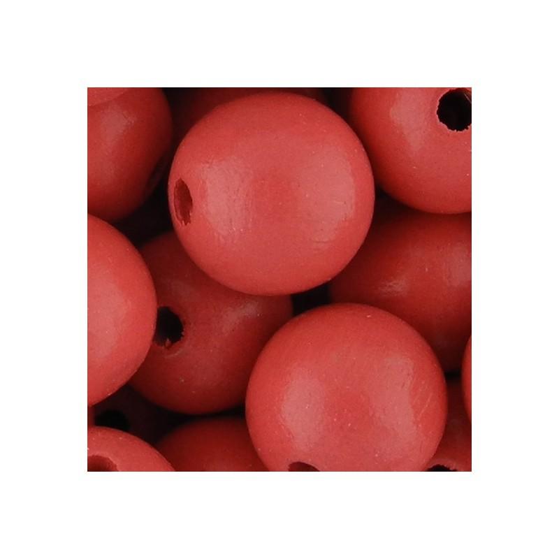 Preciosa pyöreä lakattu puuhelmi 12 mm, korallinpunainen