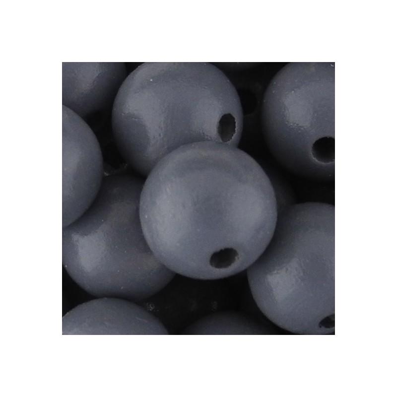 Preciosa pyöreä lakattu puuhelmi 12 mm, harmaa