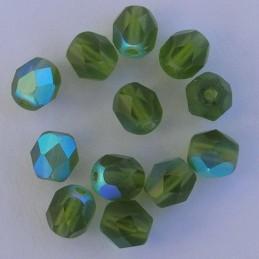 Tsekkiläinen fasettihiottu pyöreä lasihelmi 6mm, kirkas matta oliviini AB