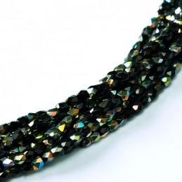 Tsekkiläinen fasettihiottu pyöreä lasihelmi 2 mm, opaakki musta vitrail