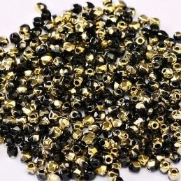 Tsekkiläinen fasettihiottu pyöreä lasihelmi 2 mm, opaakki musta amber