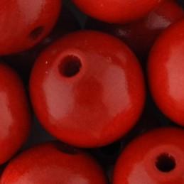 Preciosa pyöreä lakattu puuhelmi 16 mm, punainen