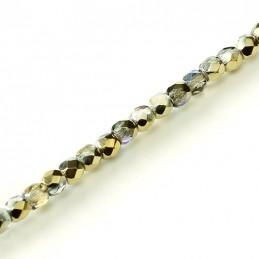 Tsekkiläinen fasettihiottu pyöreä lasihelmi 3 mm, kirkas kultainen AB