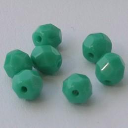 Tsekkiläinen fasettihiottu pyöreä lasihelmi 6 mm, opaakki vihreänturkoosi, 30 kpl