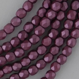 Tsekkiläinen fasettihiottu pyöreä lasihelmi 3 mm, pastelli burgundinpunainen