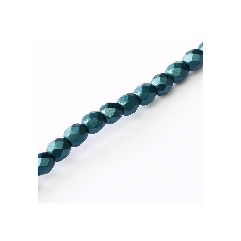 Tsekkiläinen fasettihiottu pyöreä lasihelmi 3 mm, pastelli petrooli