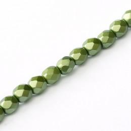 Tsekkiläinen fasettihiottu pyöreä lasihelmi 3 mm, pastelli oliivi