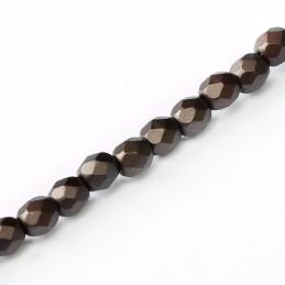 Tsekkiläinen fasettihiottu pyöreä lasihelmi 3 mm, pastelli tummanruskea