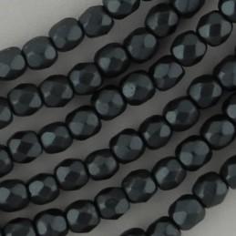 Tsekkiläinen fasettihiottu pyöreä lasihelmi 3 mm, pastelli tummanharmaa