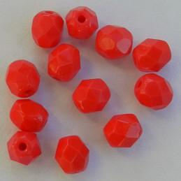 Tsekkiläinen fasettihiottu pyöreä lasihelmi 6 mm, opaakki punainen