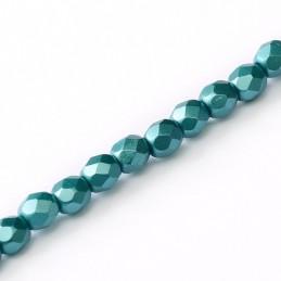Tsekkiläinen fasettihiottu pyöreä lasihelmi 3 mm, pastelli smaragdinvihreä