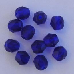 Tsekkiläinen fasettihiottu pyöreä lasihelmi 6 mm, kirkas matta koboltinsininen