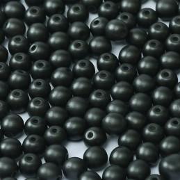 Tsekkiläinen pyöreä lasihelmi 4 mm, metallinen musta
