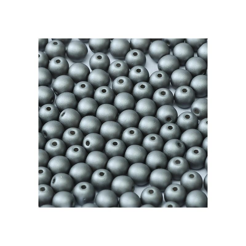 Tsekkiläinen pyöreä lasihelmi 4 mm, metallinen teräs