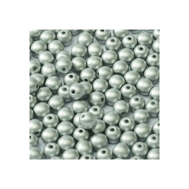 Tsekkiläinen pyöreä lasihelmi 4 mm, metallinen hopea