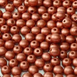 Tsekkiläinen pyöreä lasihelmi 4 mm, metallinen punainen
