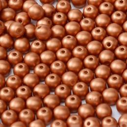 Tsekkiläinen pyöreä lasihelmi 4 mm, metallinen pronssi