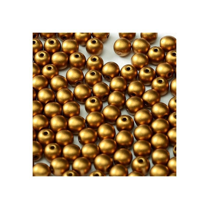 Tsekkiläinen pyöreä lasihelmi 4 mm, metallinen messinki