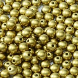 Tsekkiläinen pyöreä lasihelmi 4 mm, metallinen oliivi
