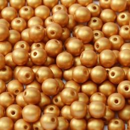 Tsekkiläinen pyöreä lasihelmi 4 mm, metallinen kulta