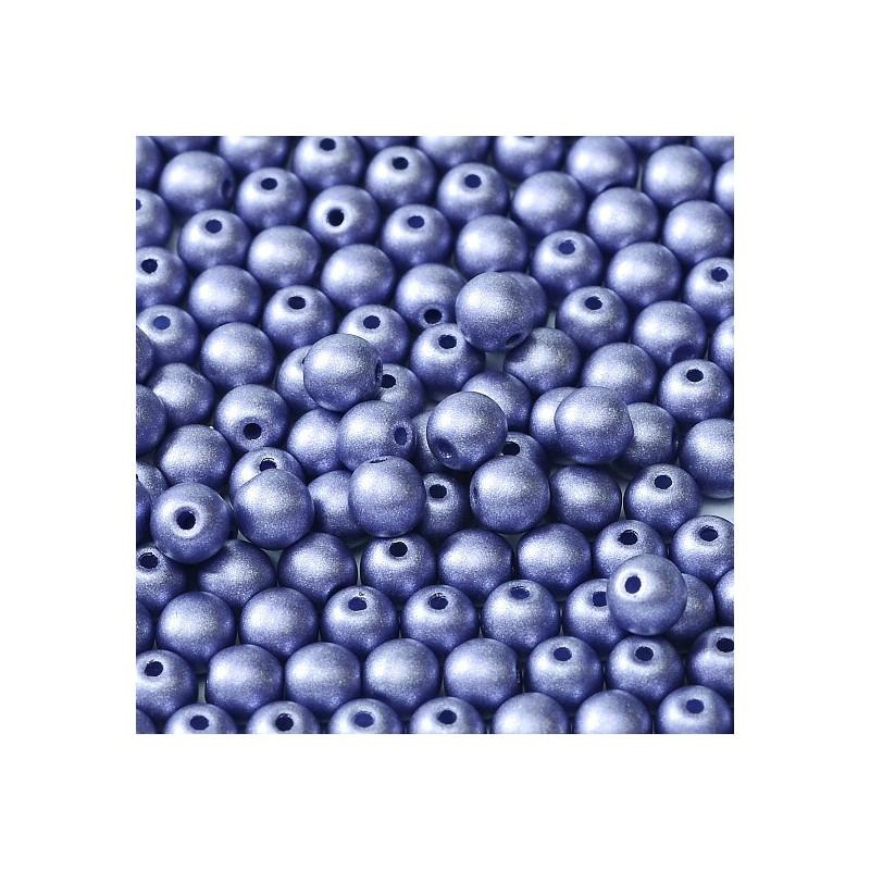 Tsekkiläinen pyöreä lasihelmi 4 mm, metallinen tansaniitti