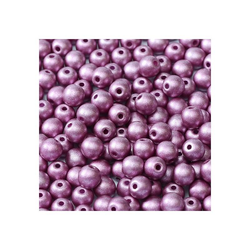 Tsekkiläinen pyöreä lasihelmi 4 mm, metallinen roosa