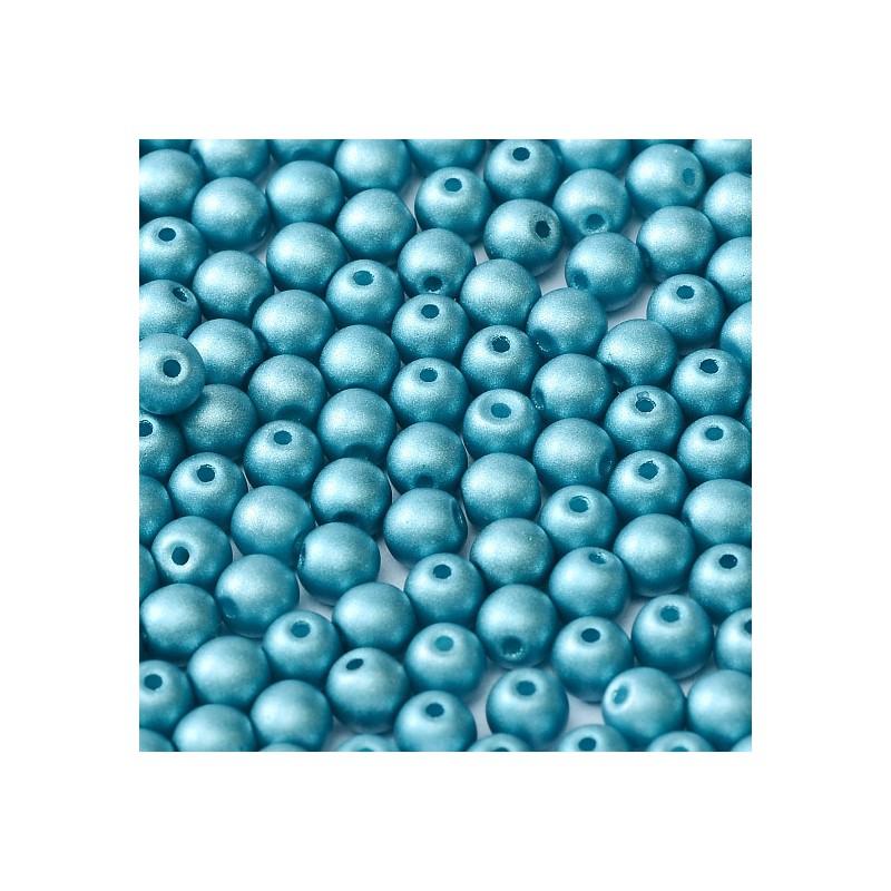 Tsekkiläinen pyöreä lasihelmi 4 mm, metallinen siniturkoori