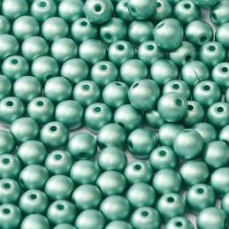 Tsekkiläinen pyöreä lasihelmi 4 mm, metallinen vihreä