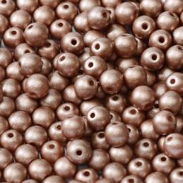 Tsekkiläinen pyöreä lasihelmi 4 mm, metallinen persikka