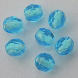 Tsekkiläinen fasettihiottu pyöreä lasihelmi 6 mm, kirkas valkosisus akvamariini