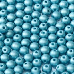 Tsekkiläinen pyöreä lasihelmi 3 mm, metallinen siniturkoosi