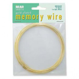 Memory wire, kaulakorukoko 91 mm, kullattu (n. 38 kieppiä)