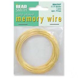 Memory wire, rannekorukoko 57 mm, kullattu (n. 70 kieppiä)