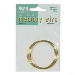 Memory wire, rannekorukoko 45 mm, kullattu (12 kieppiä)