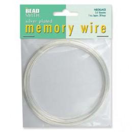 Memory wire, kaulakorukoko 91 mm, hopeoitu (n. 38 kieppiä)