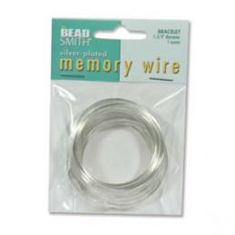 Memory wire, rannekorukoko 45 mm, hopeoitu (n. 80 kieppiä)