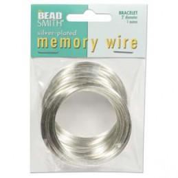 Memory wire, rannekorukoko 50 mm, hopeoitu (n. 70 kieppiä)