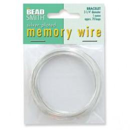 Memory wire, rannekorukoko 57 mm, hopeoitu (n. 70 kieppiä)