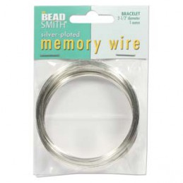 Memory wire, rannekorukoko 64 mm, hopeoitu (n. 70 kieppiä)