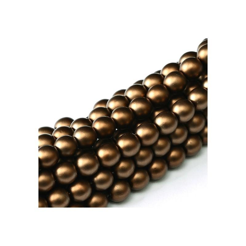 Tsekkiläinen mattapintainen helmiäislasihelmi 3 mm, ruskea satiini