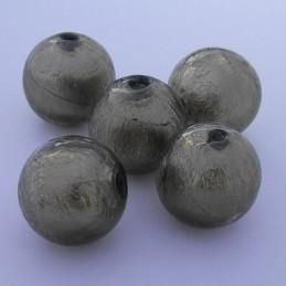 Pyöreä lamppuhelmi 14 mm, harmaa hopeafolio