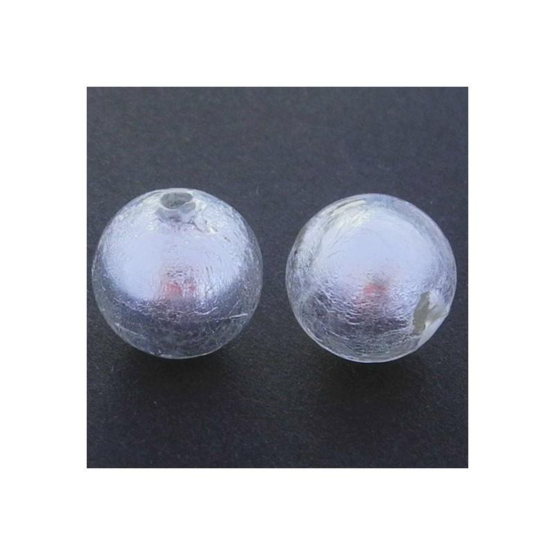 Pyöreä lamppuhelmi 14 mm, kirkas hopeafolio