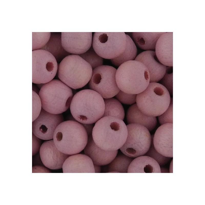 Preciosa pyöreä lakattu puuhelmi 6 mm, vaaleanpunainen