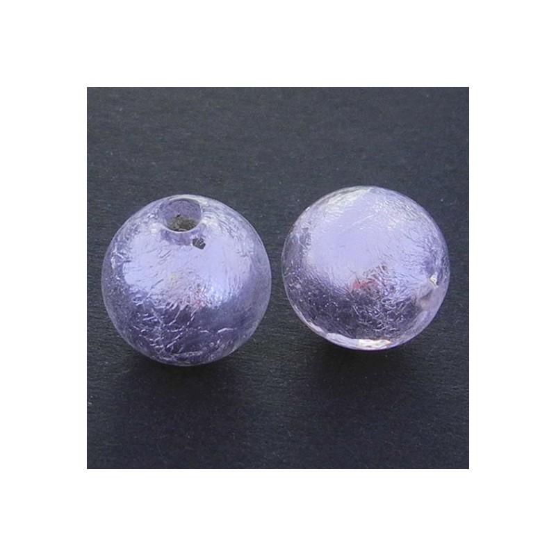 Pyöreä lamppuhelmi 14 mm, vaaleanpunainen hopeafolio