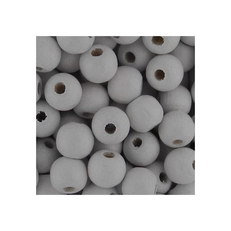 Preciosa pyöreä lakattu puuhelmi 6 mm, valkoinen