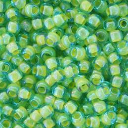 Toho pyöreä siemenhelmi 11/0, sisältä värjätty vedensininen sisävärinä opaakki keltainen