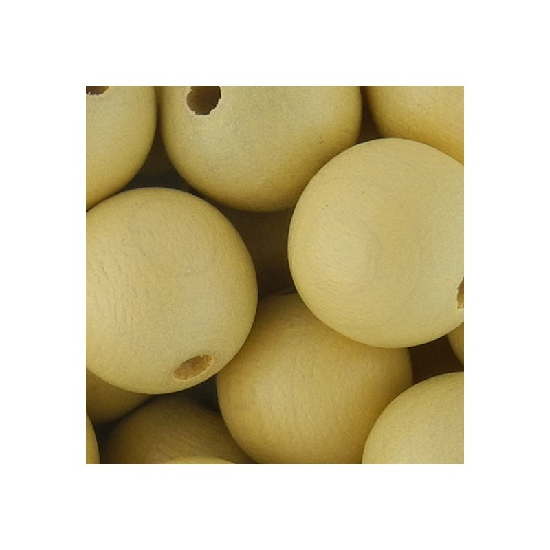 Preciosa pyöreä lakattu puuhelmi 12 mm, vaalea oljenkeltainen