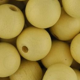 Preciosa pyöreä lakattu puuhelmi 10 mm, vaalea oljenkeltainen
