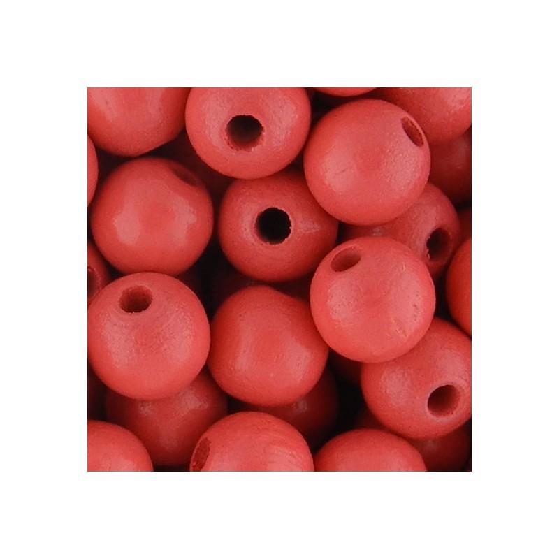 Preciosa pyöreä lakattu puuhelmi 8 mm, korallinpunainen
