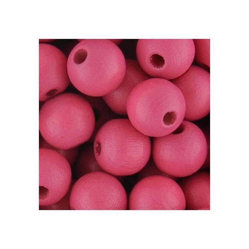 Preciosa pyöreä lakattu puuhelmi 8 mm, tummempi vaaleanpunainen